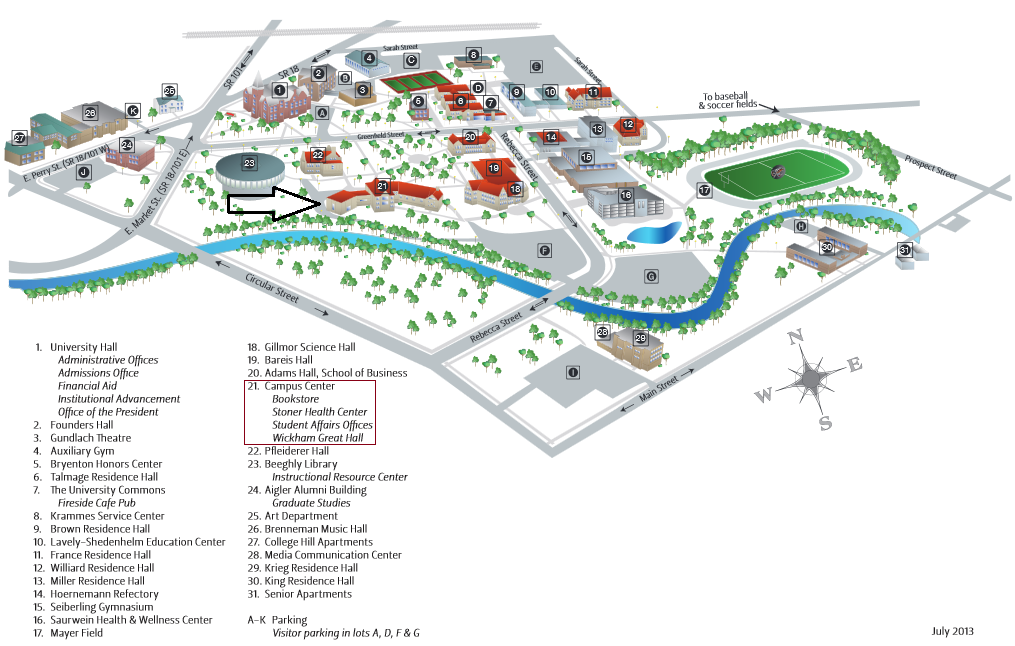 Heidelberg University Campus Map.Aauw Heidelberg University Campus Center Map Tiffin Oh Branch